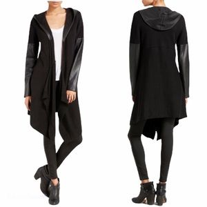 Blank NYC Faux Leather Vegan Long Cardigan Duster